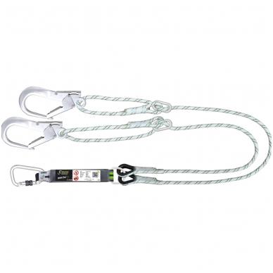 Dvišakis energijos sugertuvas 45 mm su alpinizmo lynais iki 2 metrų su 2 žiediniais reguliatoriais