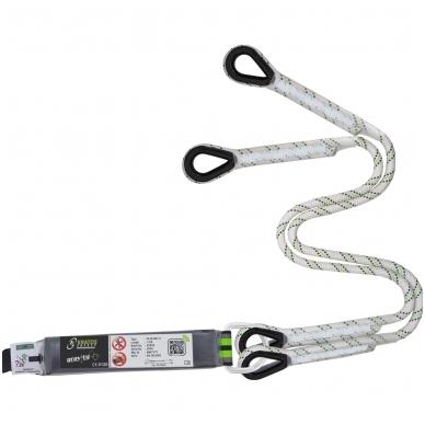 Dvišakis energijos sugertuvas 45 mm su alpinizmo lynu, kurio ilgis 1,30 m be jungties