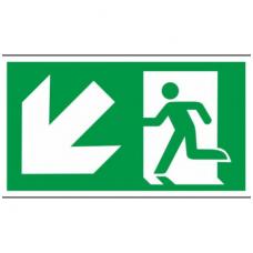 """Lipdukas """"Evakuacinis išėjimas žemyn į kairę"""""""