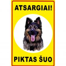 """Saugos ženklas, plastikas """"Atsargiai! Piktas šuo"""""""